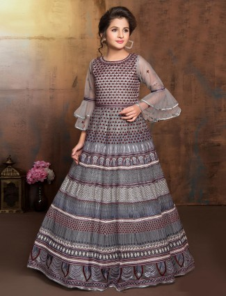 Thread woven maroon and grey festive wear anarkali suit