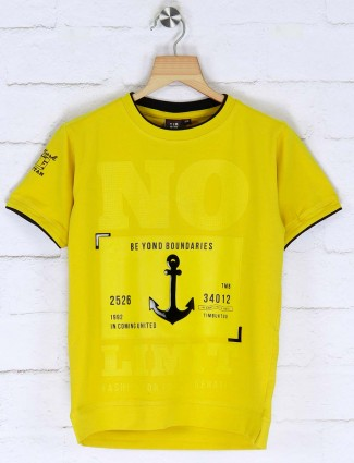 Timbuktu yellow hued boys printed t-shirt