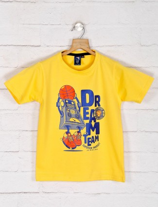 Timbuktu yellow printed casual cotton t-shirt