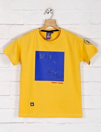 Timbuktu yellow printed cotton casual t-shirt