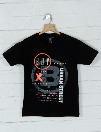 Timbuktuu black cotton printed boys t-shirt