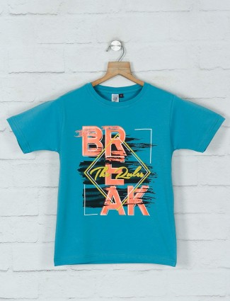Timbuktuu blue printed cotton t-shirt casual wear