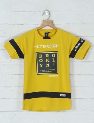 Timbuktuu cotton printed yellow t-shirt