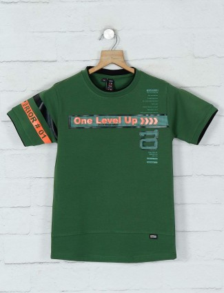 Timbuktuu printed green casual boys t-shirt