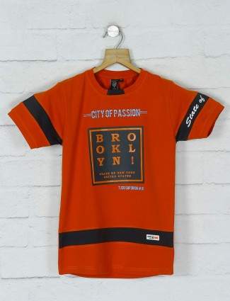 Timbuktuu printed orange cotton t-shirt