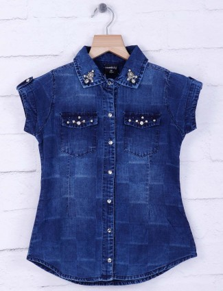 Tiny Girl blue denim casual top
