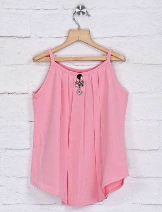 Tiny Girl casual pink solid georgette top