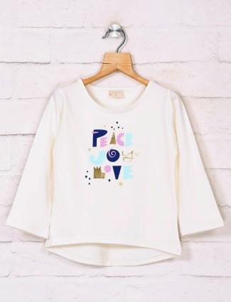 Tiny Girl cream cotton printed sleeveless top