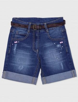 Tiny girl denim blue girls shorts