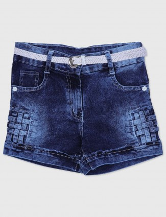 Tiny Girl denim casual wear shorts in navy blue
