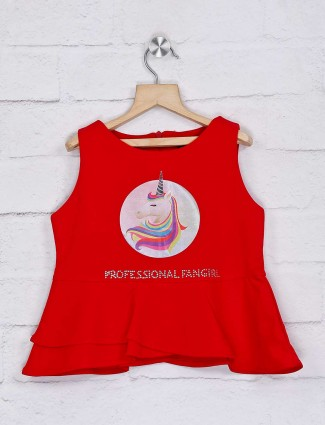 Tiny Girl foil red lycra round neck top