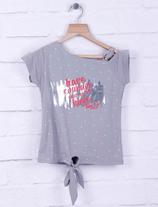 Tiny Girl grey color hue cotton casual top