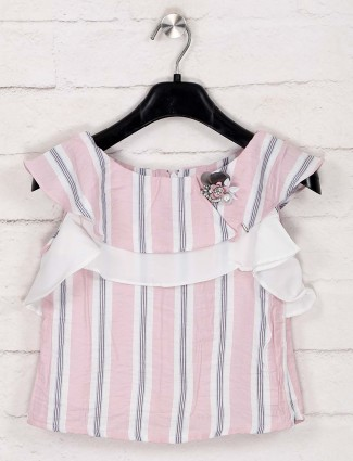 Tiny Girl latest stripe pink cotton top