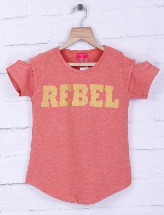 Tiny Girl peach cotton casual top
