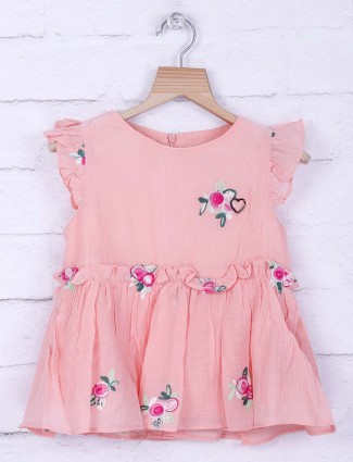 Tiny Girl peach hue cotton top