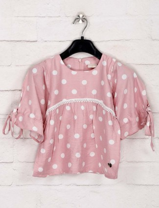 Tiny Girl pink printed casual wear top