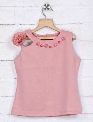 Tiny Girl pink solid cotton fabric top