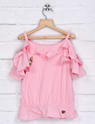 Tiny Girl pink solid lycra top