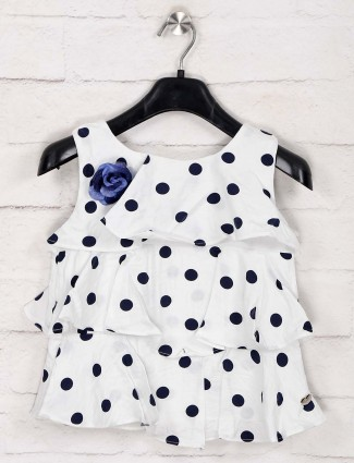 Tiny Girl polka dot printed white top