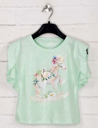 Tiny Girl printed green cotton fabric top