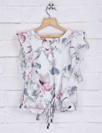 Tiny Girl printed off white georgette top