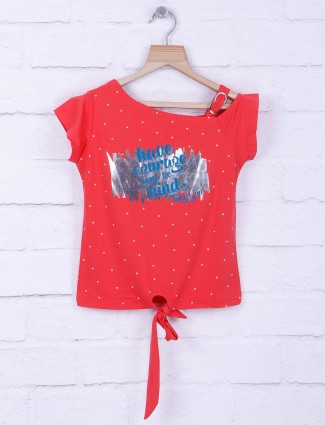 Tiny Girl red cotton casual top
