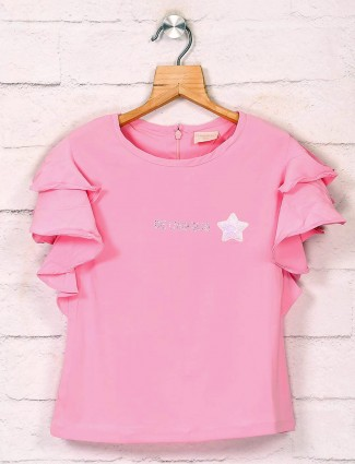 Tiny Girl round neck solid pink top