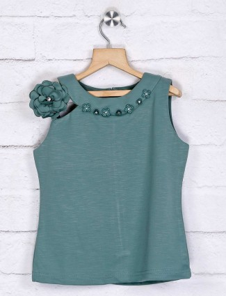 Tiny Girl solid green cotton top