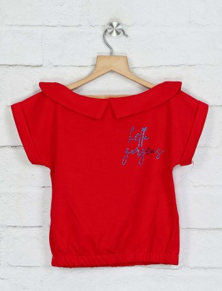Tiny Girl solid red cotton girls top