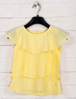 Tiny Girl solid yellow round neck top