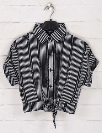 Tiny Girl stripe black cotton collar neck top