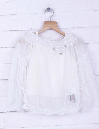 Tiny Girl white georgette festive top
