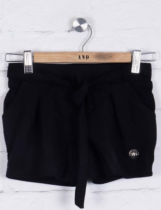 TinyGirl black cotton casual shorts
