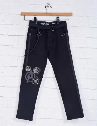 Tippy solid black elasticated fit jeans