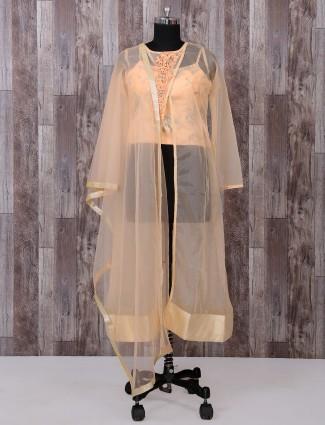 Tissue silk fabric beige palazzo suit