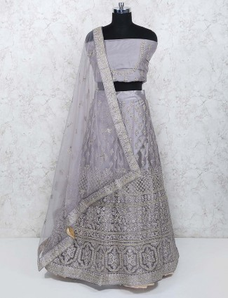Tissue silk semi stitched lehenga choli in grey color