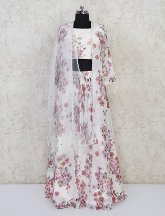 Tissue silk white square neck lehenga choli