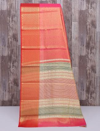 Tomato red cotton silk fabric saree