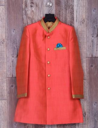 Tomato red plain silk wedding wear indo western