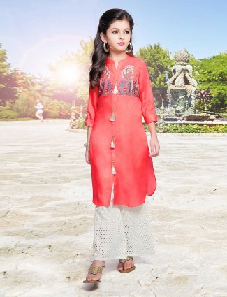 Tomato red silk palazzo suit for festive occasion