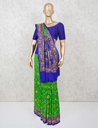 Traditional Bandhej saree in green and blue colors