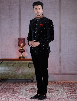 Traditional blacket velvet designer jodhpuri suit