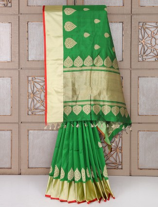 Traditional green color silk saree