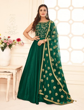 Traditional green silk anarkali suit