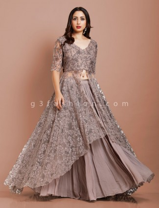 Traditional grey net designer floor length gown