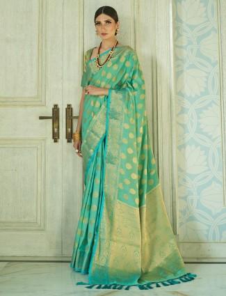 Traditional light green semi silk wedding wear saree