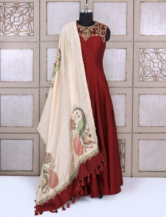 Traditional maroon silk anarkali suit for wedding function