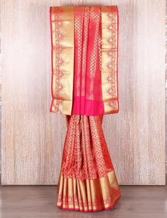 Traditional red kanjivaram silk saree