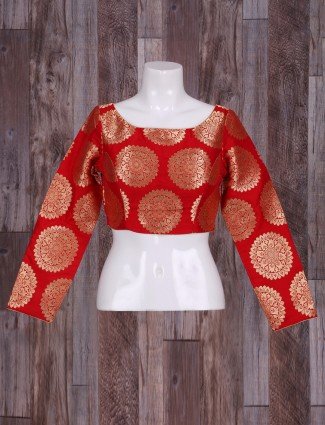 Traditional red silk ready made blouse
