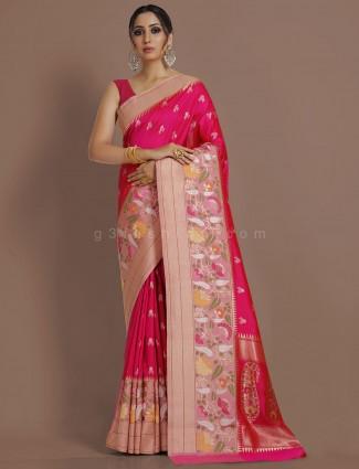 Traditional wear magenta pure banarasi silk sari